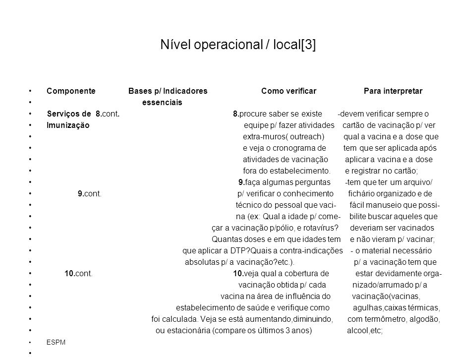 Nível operacional / local[3]